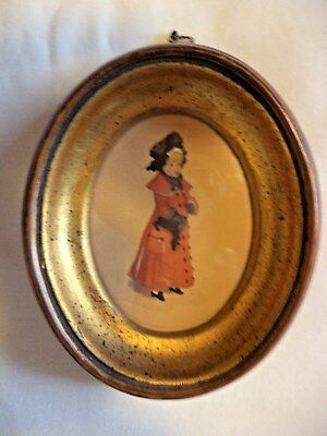 Kate Greenaway Framed Oval  Print  3 X 3 1/2  Victorian Girl