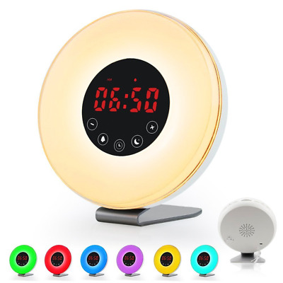 Sunrise Alarm Clock Wake Up Light Stereo FM Radio Night Lamps Touch USB Charger