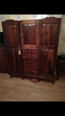 antique Imbuia Solid Wood wardrobe And Dressing Table