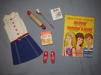 Vintage 1965 SKIPPER Barbie Doll COOKIE TIME Outfit - NEAR COMPLETE