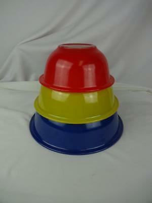 Vintage Pyrex Clear Bottom Nesting Mixing Bowls (3) Red Yellow Blue Primary