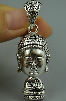 China Decor Collect Old Tibet Silver Carve Pray Buddha Amulet Lucky Pendant Fine
