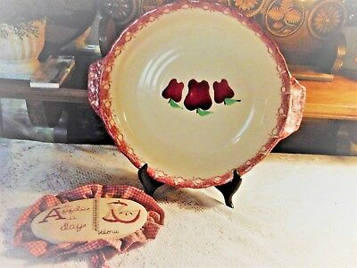 """14"""" Wide Signed Pottery Pie Plate with Apples and Calico Stitched Sign """"An Apple"""