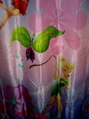 DISNEY FAIRIES TINKERBELL Purple Fabric Shower Curtain Bath Tub