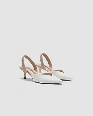 Zara New Slingback Court Shoes With Elastic Strap High Heel Nude Size Uk 2-9