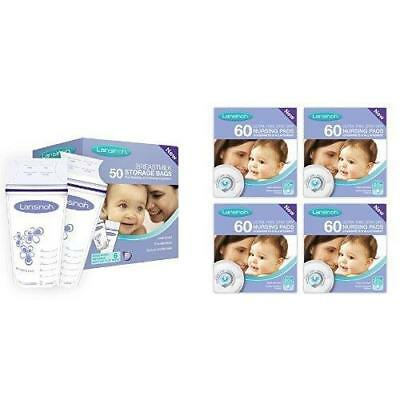 Lansinoh Breastmilk Storage Bags (50 Pieces) And Disposable Nursing Pads (4 X