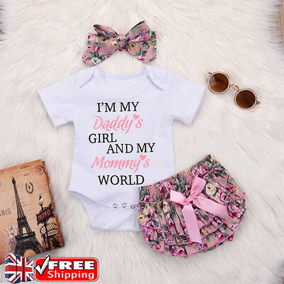 Baby Girls Newborn Romper Tops Jumpsuit Tutu Pants Headband Outfits Clothes Set