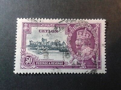Ceylon 50c  High Value used stamp from KGV 1935 Silver Jubilee
