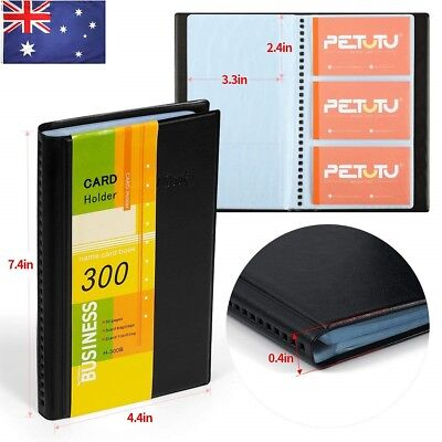 AU Business Name Card Holder Business Card Book Black PU Leather 300 Cards