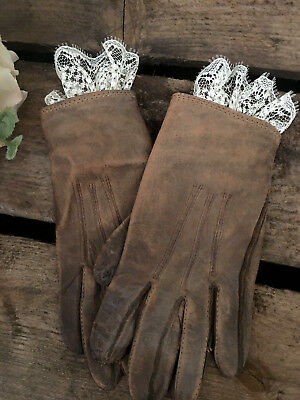 SWEET PAIR of Antique primitive Childs GIRLS LEATHER Gloves w/ LACE VERY SMALL