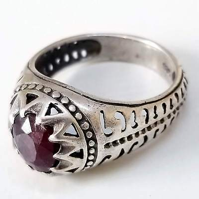 Antique handmade 925 sterling silver ring unheated genuine red ruby yaqut stone