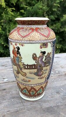 Beautiful Antique Vintage Chinese Oriental Hand Painted Decorative Vase *