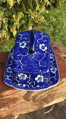 Vintage Blue & White Butter Cheese Dish With Cover Unmarked *