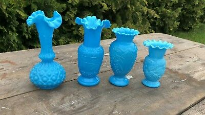 Beautiful Antique Vintage Retro Collection of Blue Glass Small Vases *