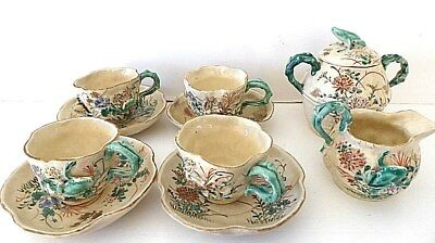 Rare Antique Japanese Kinkozan painted 3D Frog & Crab 4 cup and saucer tea set
