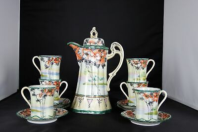 Antique Japanese Moriage Art Deco Eggshell Porcelain Chocolate Tea Coffee Set