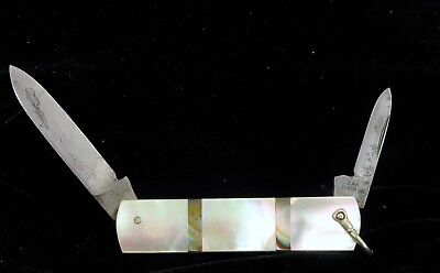 Antique Dual Blade Folding Pocket Knife Mother Of Pearl With Inlay Abalone Zak !