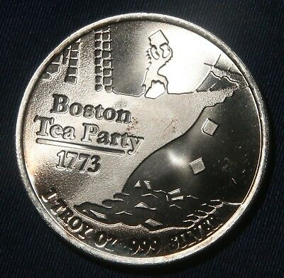"Boston Tea Party 1 Oz .999 Silver Round ""don't Tread On Me""  Lot 020356"