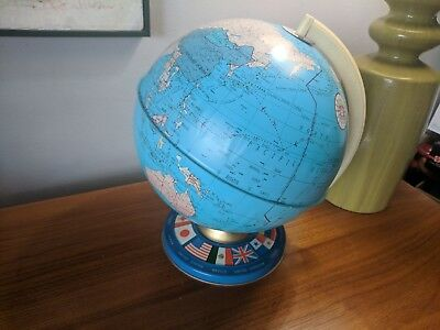 Vintage Metal tin Globe The Ohio  Art earth world countries Geography Flags