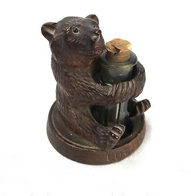 Antique Switzerland Black Forest Bear Figurine / Scent / Ink / Salt Bottle
