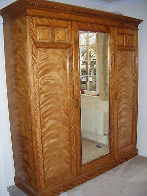 Antique Victorian Satin Birch Triple Wardrobe. Restored and Lined in Fabric.