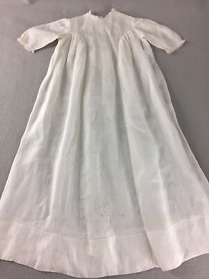 Vintage Antique Simple Christening Gown Dress Embroidered Cream Infant Baptism