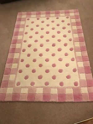 Pink polka Dot/ Check Wool Rug In Good Condition