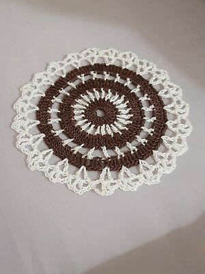 Fudge Brown in White Bumblebee doily Approximately 5 Inches.
