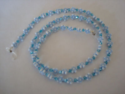 Handmade Baby Blue Flowers & Swarovski Crystal Eye  Glass Chain L28""