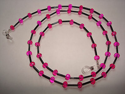 Handmade Hot Pink Swarovski Crystal Spectacle Chain L28""