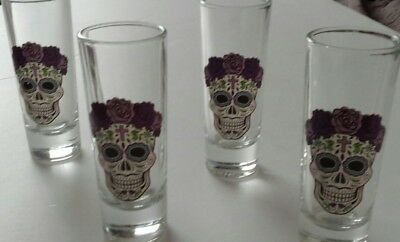 Sugar Skulls Tall Shooters Day of The Dead 4 Shot Glasses Gift Box Four