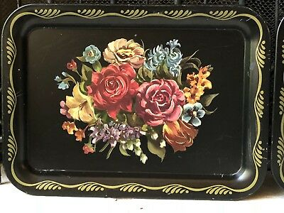 Vintage PAIR Matching TOLE* Black Floral TRAYS Antique Flowers red roses decor