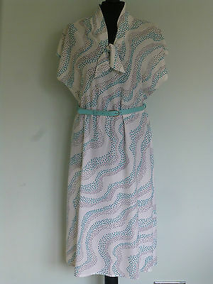 Original Vintage 70s/80s Dress UK 14/16 White/Turquoise Day Work Casual Large