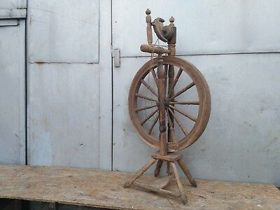 Antique Wooden Spinning Wheel Charka Country Folk Primitive Old