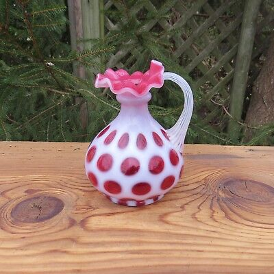 Vintage FENTON Art Glass Ewer COIN SPOT Cased Cranberry Crimped Ruffled PRETTY!!