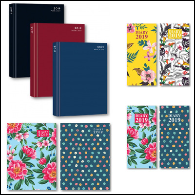 2019 A4/A5/A6 Slim Pocket Day to Page or Week to View Desk Hard Backed Diary UK