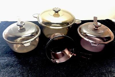 Vision Corning Ware Brown Amber Cranberry Cookware Glass Pot Pan