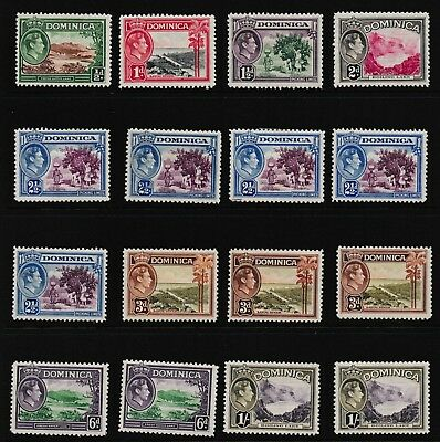 Pre Decimal,Caribbean,Dominica,KGVI Issue,Set of 16 to 1/-,SG99-106,MH,C&S,#1754