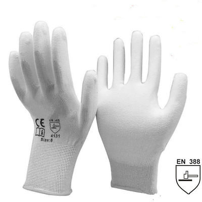 Size: 6 PU Coated Palm Work Gloves x 2 Pairs