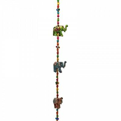 FindSomethingDifferent Decorative Wooden Elephants Hanging Garland with Bell