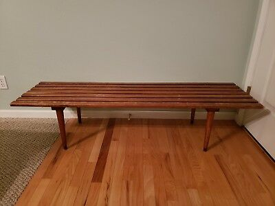 Mid-Century Danish Modern Slat Coffee Table 60 Inches Long