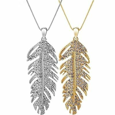 Bohemian Women Glamour Crystal Rhinestone Feather Leaf Pendant Chain Necklace