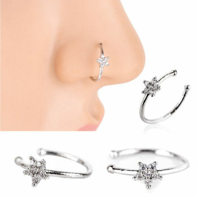 Fake Clip On Sparkly Crystal Diamante Nose Ring Nose Hoop Stud-No Piercing