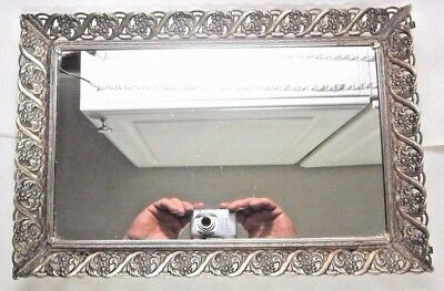 Antique 15 Inch Framed Mirror Silver Tone Ornate Floral Frame W. Flowers Daisies