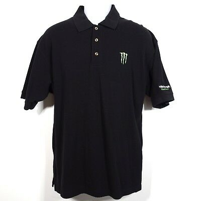 Monster Energy Drink Black Embroidered Golf Polo Shirt Men's Large 100% Cotton