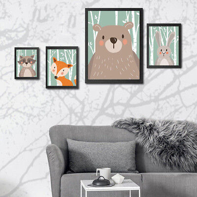 Modern Animal Canvas Poster Wall Sticker Hanging Print Painting Kids Room Decor