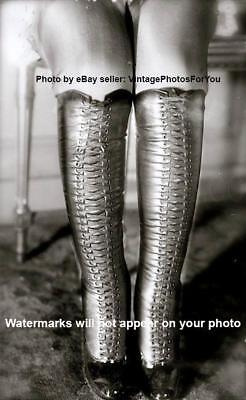 Vintage/Old/Antique Early 1900s Sexy Tall/Knee High Lace Up Boots Legs Photo