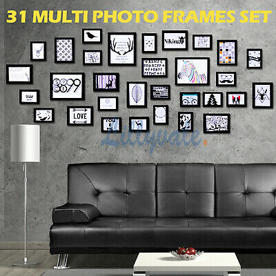 Multi Picture Photo Frames Wall Set 31 PCS 195cm x 84cm Home Deco Collage Black