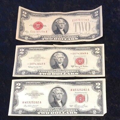 Lot of 3 $2 Red Seal Notes, 1928, 1953 & 1963 With the 1963 Being A Star Note