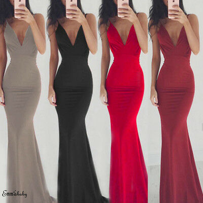 Women Formal Party Ball Long Wedding Bridesmaid Evening Prom Gown Cocktail Dress